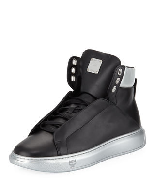 MCM Visetos-Trim Leather High-Top Sneaker