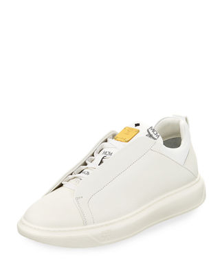 Grain Leather Low-Top Sneaker with Visetos Trim