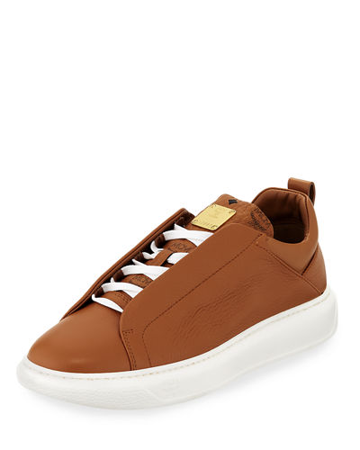 Men's Grain Leather Low-Top Sneakers with Visetos Trim