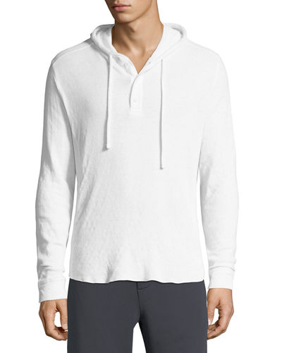 Vince Double-Knit Hooded Henley T-Shirt and Matching Items