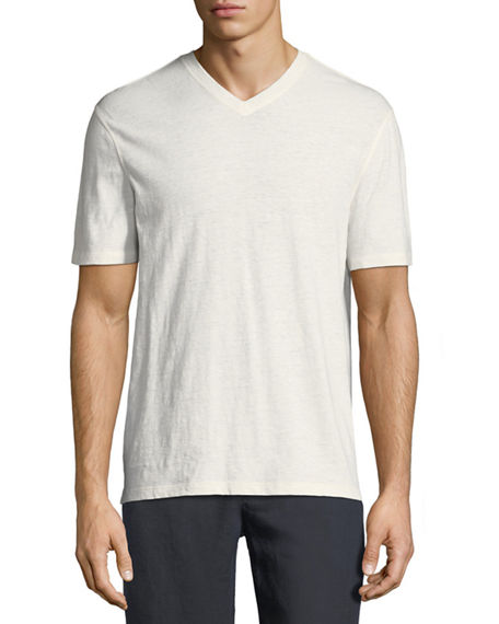 22067e35f0 VINCE COTTON LINEN V-NECK T-SHIRT