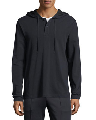 Vince Hooded Pima Cotton Henley Top and Matching
