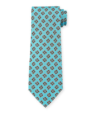 Isaia Printed Medallion Silk Tie