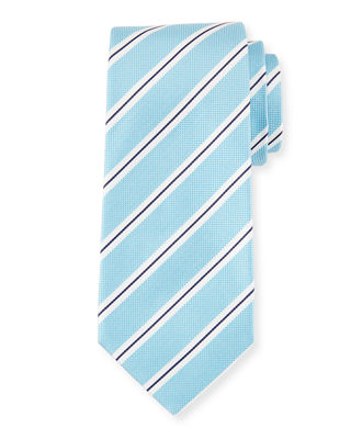 Isaia Framed Stripe Silk Tie