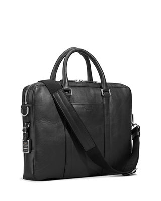 Image 3 of 4: Men's Slim Leather Computer Briefcase