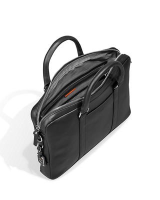 Image 4 of 4: Men's Slim Leather Computer Briefcase