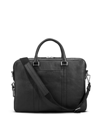 Image 1 of 4: Men's Slim Leather Computer Briefcase