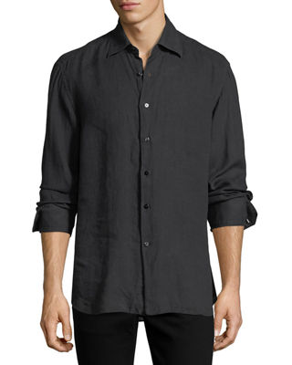 Barrel-Cuff Linen Dress Shirt