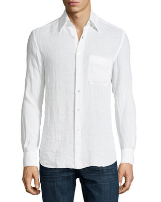 Solid Linen Long-Sleeve Shirt