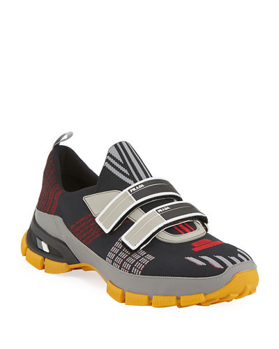 Prada Men's Nylon Tech Sneakers with Double Grip-Strap