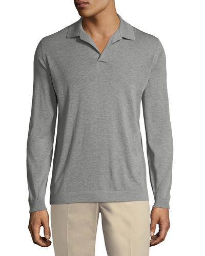 Split-Neck Long-Sleeve Polo Shirt
