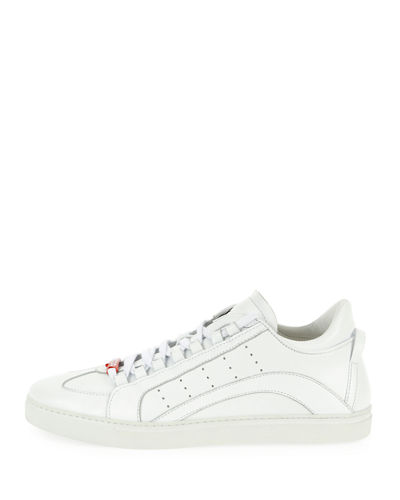 Men's Stripe Leather Low-Top Sneakers