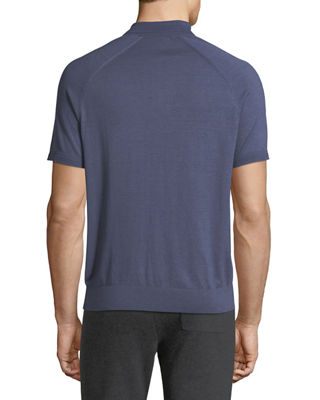 Image 2 of 2: Solid Knit Polo Shirt