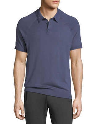 Image 1 of 2: Solid Knit Polo Shirt