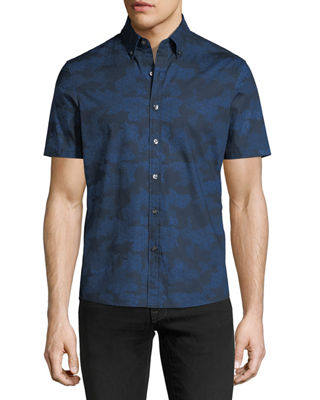 Image 1 of 2: Camouflage-Print Short-Sleeve Sport Shirt