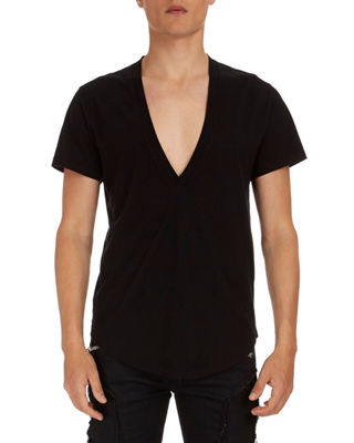 Image 1 of 2: Deep V Cotton T-Shirt