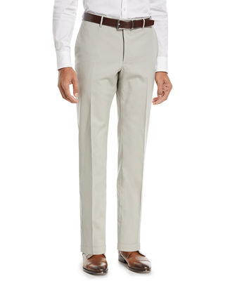 Incotex Matty Techno-Wool Flat-Front Trim Trousers