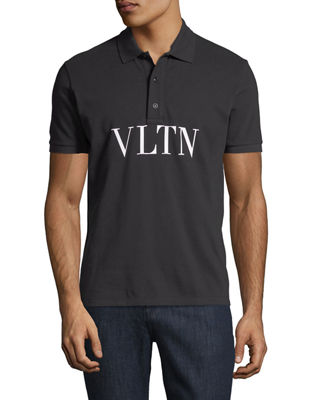 VALENTINO Vltn Logo-Stamped Polo Shirt in Black