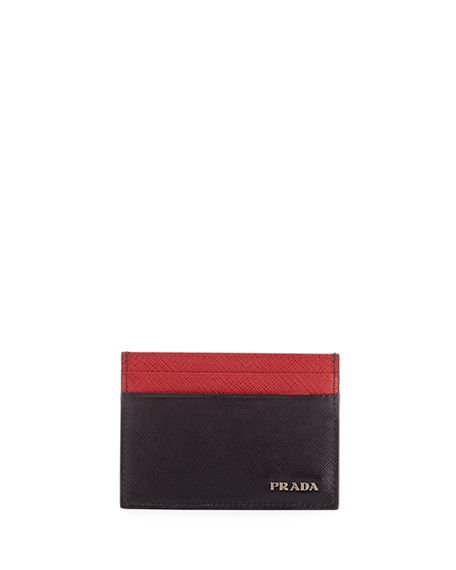 Image 1 of 2: Prada Colorblock Saffiano Leather Card Case