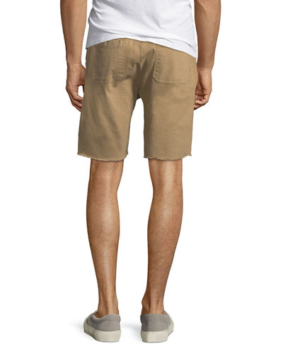 Twill Cotton-Blend Saddle Shorts