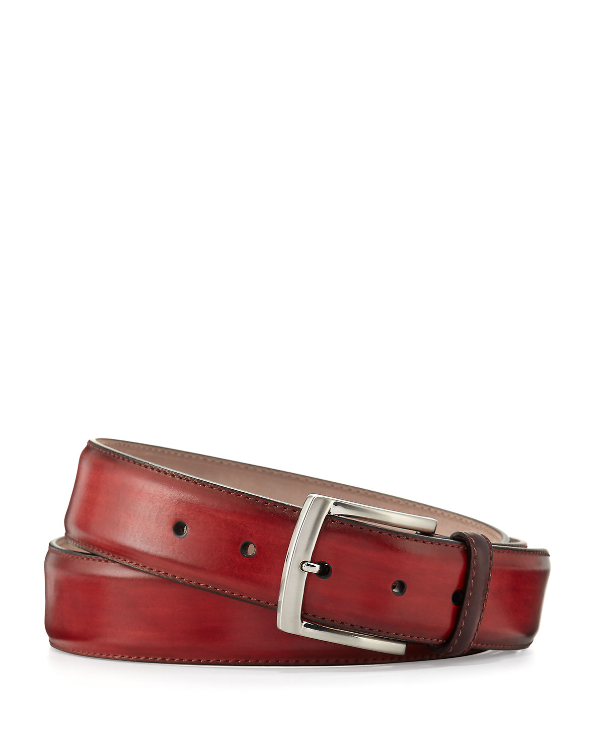 Neiman Marcus Belts SQUARE-BUCKLE CALF LEATHER BELT