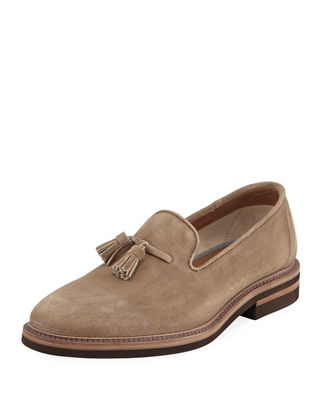 Brunello Cucinelli Round-Toe Leather Loafers