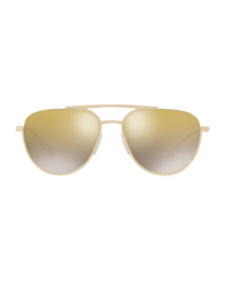 Image 2 of 2: Men's Mirrored Metal Pilot Sunglasses