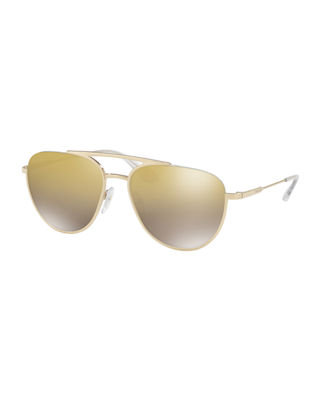 Image 1 of 2: Men's Mirrored Metal Pilot Sunglasses