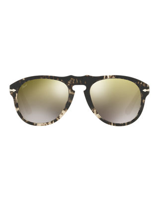 Persol 649-Series Mirrored Aviator Sunglasses