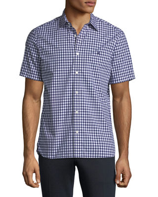 Burberry Stopford Gingham Short-Sleeve Sport Shirt
