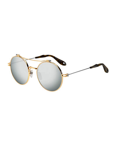 Men's Round Mirrored Metal Sunglasses