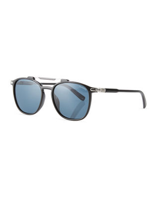 Polarized Double-Bridge Square Sunglasses
