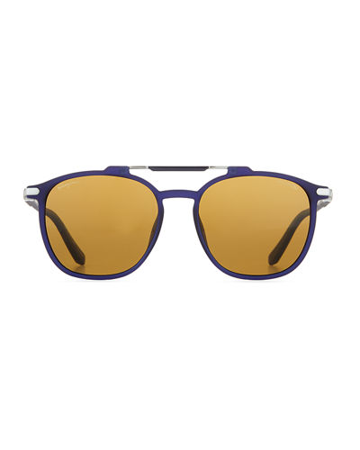 Men's Polarized Double-Bridge Square Sunglasses