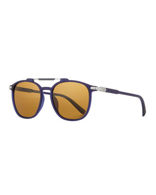 Salvatore Ferragamo Men's Polarized Double-Bridge Square Sunglasses