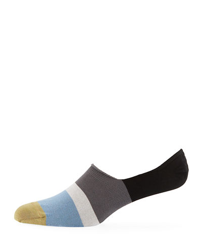 Dill Striped Cotton-Blend No-Show Socks