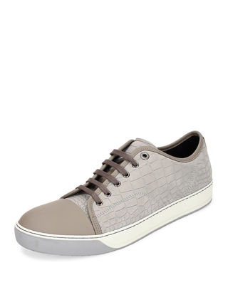 Image 1 of 3: Men's Croc-Embossed Low-Top Sneaker