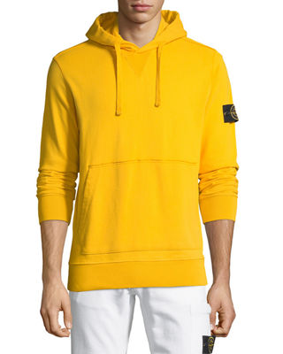 STONE ISLAND Cotton Fleece Pullover Hoodie in Yellow
