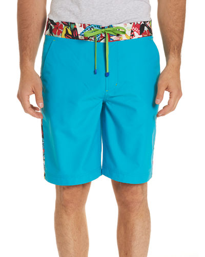 Dos Rios Graphic-Trim Swim Trunks with Wet/Dry Color-Change Effect