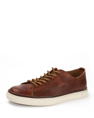 Gates Perforated Logo Leather Low-Top Sneaker