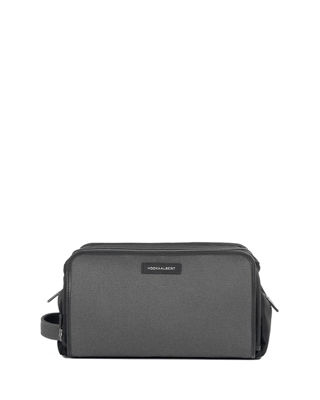 Twill Leather-Trim Toiletry Bag