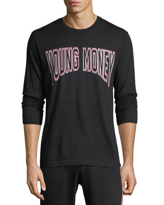 YOUNG MONEY Long-Sleeve Logo Graphic T-Shirt in Black/Pink