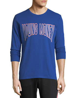 YOUNG MONEY Long-Sleeve Logo Graphic T-Shirt in Blue/Red