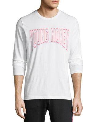 YOUNG MONEY Long-Sleeve Logo Graphic T-Shirt in White/Red