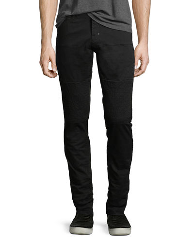 Skinny Stretch-Denim Moto Jeans