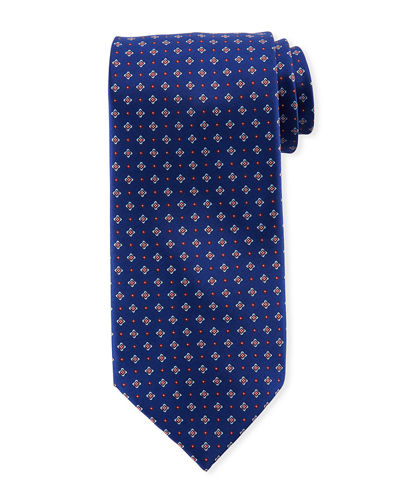 Men's Small Medallion Print Silk Tie