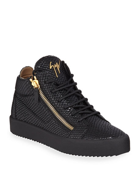 Image 1 of 3: Giuseppe Zanotti Men's Embossed Leather Mid-Top Sneakers