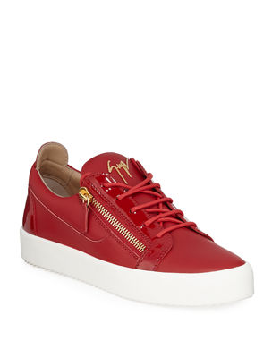 f6cf628212ed12 Giuseppe Zanotti Men s London Double-Zip Leather Low-Top Sneakers