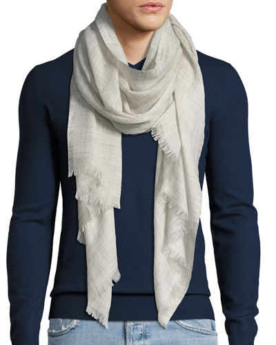 Men's Fringed-End Textured Scarf
