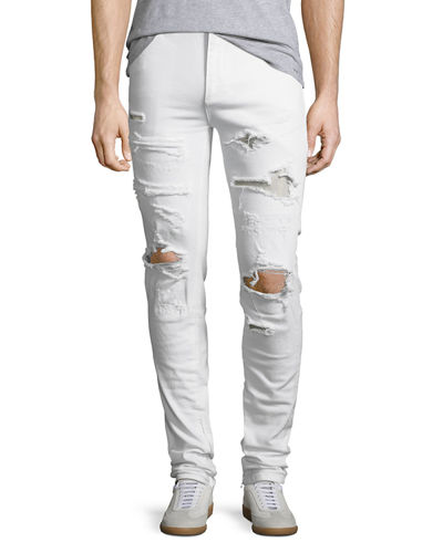 Furfante Distressed Slim-Straight Jeans with Backing