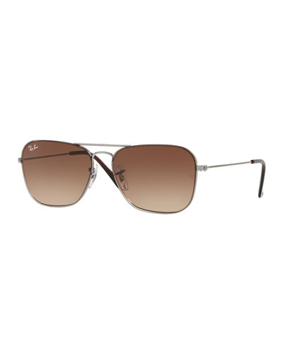 Men's Gradient Metal Rounded Square Sunglasses